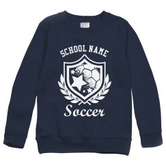 Soccer Emblem Custom Youth Kids Sweatshirt,crewneck-swe