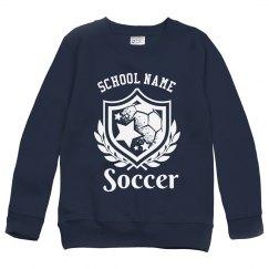 Soccer Emblem Custom Youth Kids Sweatshirt,crewneck-swe