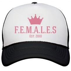 Females trucker hat black and white trim
