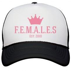 Females trucker hat black and white trim