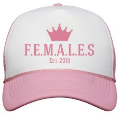 Females trucker hat pink trim