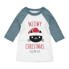 Meowy Christmas Custom Kids Raglan