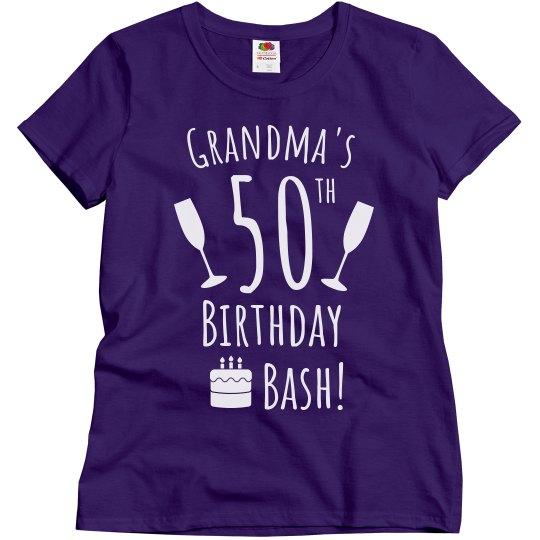 Grandmas 50th Bash Ladies Relaxed Fit Basic T Shirt