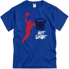 Royal blue tee w/basketball graphic