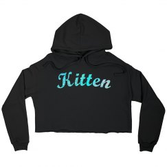 Kitty Crop Top Hoodie - Light Blue