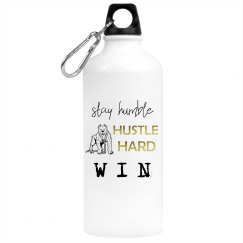 Stay Humble. Hustle Hard. WIN. White Steel Water Bottle