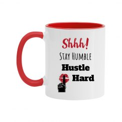 SHHH! STAY HUMBLE HUSTLE HARD Red Lips Two Tone Mug