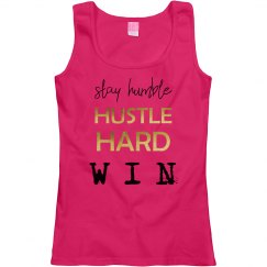 Stay Humble. Hustle Hard. WIN. Ladies Scoopneck