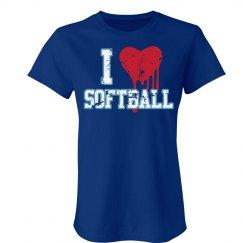 I Love Softball Distress