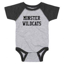 minster wildcats raglan onesie