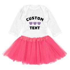 Custom Text Hearts Rainbow Outfit