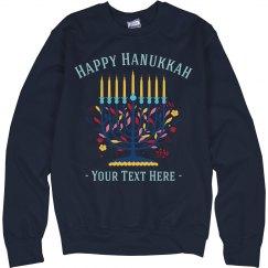 Hanukkah Custom Floral Sweater