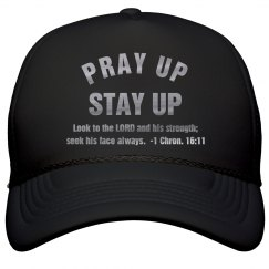 Pray Up Stay Up Scripture Metallic Silver Text Cap