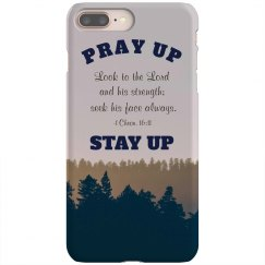 Pray Up Stay Up with Christian Scripture Navy and Brown
