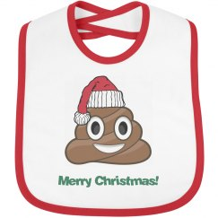 Poop Santa Clause Bib red trim