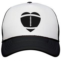 Football Mom Heart Hat