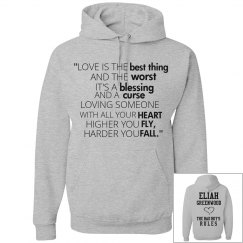HIGHER YOU FLY, HARDER YOU FALL grey hoodie