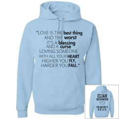 HIGHER YOU FLY, HARDER YOU FALL blue hoodie