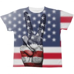 Kids Patriotic Flag Peace Sign