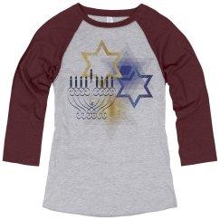 Gold & Blue Stars of David & Fancy Menorah