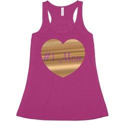 #1 Mom Fuschia Gold Metallic Heart