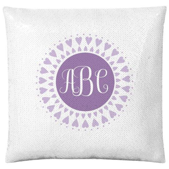 Custom Monogram Little Girl Gift Flip Sequin Pillow Cover