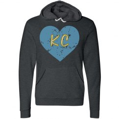 IHeartKC Hoodie - gray/lt blue - ultrasoft - distressed