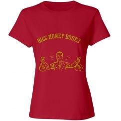 Women Bigg money Bookz design 1 shirt red