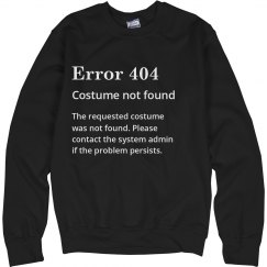 Error 404 Costume Not Found Black