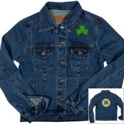 Celtic Symbol & Shamrock, Denim Jacket