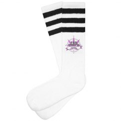 FNE Women Striped Knee-High Socks- Purple