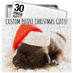 Custom Cute Puppy Christmas Puzzle Gift