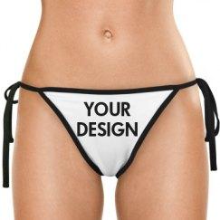 White Side-Tie Bikini Swimsuit Bottom