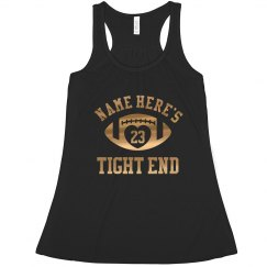 Metallic Gold Football Girlfriend Tight End Design