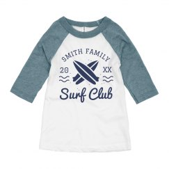 Vintage Surf Club Kid's Custom Last Name Raglan