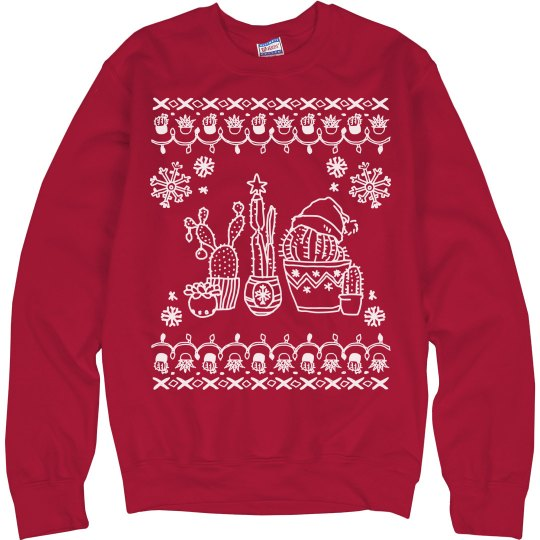 A Cacti Christmas Ugly Sweater