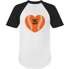 Orange baseball heart