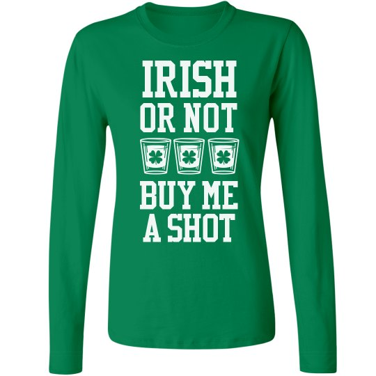 50a3c59d5 St. Paddy's Shots Ladies Relaxed Fit Basic Long Sleeve T-Shirt
