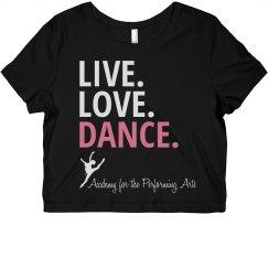 Ladies Live Love Dance Crop APA