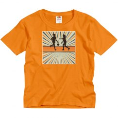 Orange youth tee w/basketball game graphic