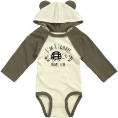 Infant Hooded Long Sleeve Raglan Bodysuit with Ears