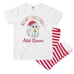 Custom Name Christmas Cat PJs