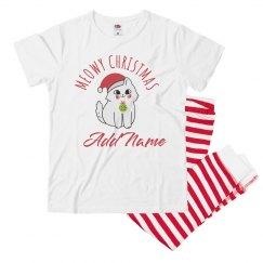 Custom Name Christmas Cat PJs