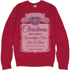 Knit Pattern Christmas Drinking Ugly Sweater