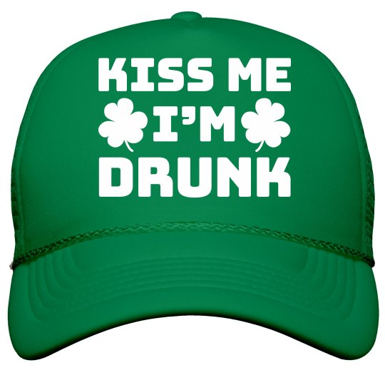 a930be8a4dffa Irish Kiss Me Drunk Snap Back Film and Foil Solid Color Snapback Trucker Hat