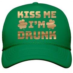 Gold Metallic Kiss Me I'm Drunk Hat