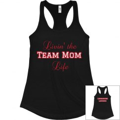 Black Razor back livin' the Team mom life Tank