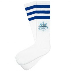FNE Women Striped Knee-High Socks- Baby Blue