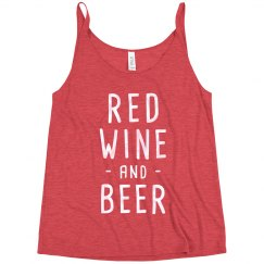 Red Wine & Beer Funny 4th Slouchy Drinking Tank