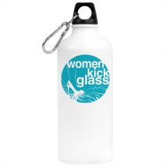 Women Kick Glass Water Bottle